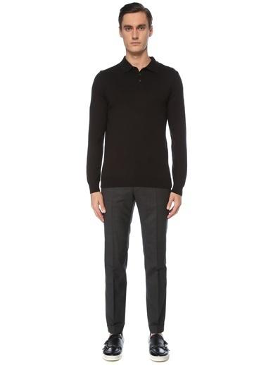 NetWork Erkek 1076132 Slim Fit Ekose Desenli Yün Pantolon Siyah